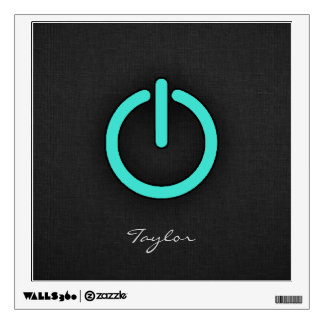 Turquoise, Blue-Green Power Button Wall Decal
