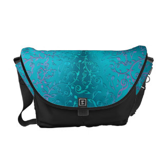 Turquoise  Blue Green Purple Music Notes Courier Bag