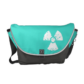 Turquoise, Blue-Green Radioactive Symbol Courier Bag