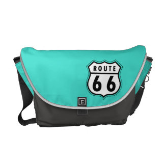 Turquoise, Blue-Green Route 66 Road Sign Courier Bags