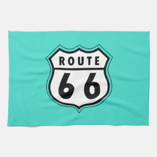 Turquoise, Blue-Green Route 66 Road Sign Kitchen Towel