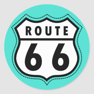 Turquoise, Blue-Green Route 66 Road Sign Round Sticker