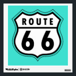 """Turquoise, Blue-Green Route 66 Road Sign Wall Decal<br><div class=""""desc"""">Cool,  retro Route 66 road sign. Old black and white vintage,  retro traffic,  road sign on cute  Turquoise,  Blue-Green  background. Images used on this item are licensed and &#169; Graphics Factory.com</div>"""