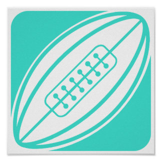 Turquoise; Blue Green Rugby football Poster