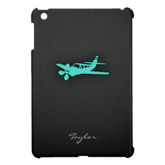 Turquoise; Blue Green Small Airplane iPad Mini Cases