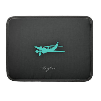 Turquoise; Blue Green Small Airplane Sleeves For MacBooks