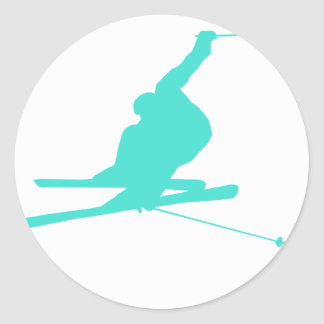 Turquoise; Blue Green Snow Ski Classic Round Sticker