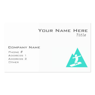 Turquoise; Blue Green Snowboarding Business Card