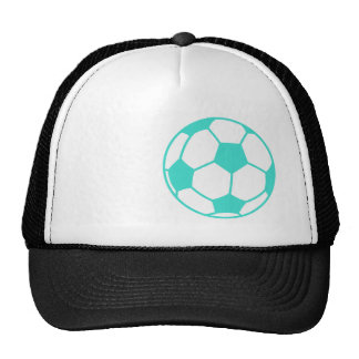 Turquoise; Blue Green Soccer Ball Trucker Hat