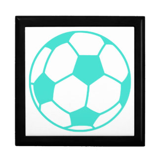 Turquoise; Blue Green Soccer Ball Keepsake Box