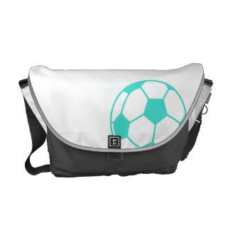 Turquoise; Blue Green Soccer Ball Messenger Bag