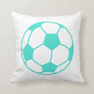 Turquoise; Blue Green Soccer Ball Pillow