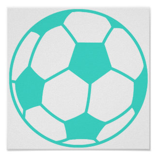 Turquoise; Blue Green Soccer Ball Print