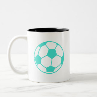 Turquoise; Blue Green Soccer Ball Two-Tone Coffee Mug