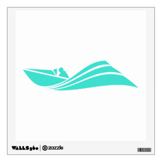 Turquoise; Blue Green Speed Boat Wall Sticker