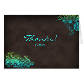 Turquoise Blue Green Thank You Greeting Card