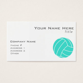 Turquoise; Blue Green Volleyball Business Card