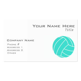 Turquoise; Blue Green Volleyball Double-Sided Standard Business Cards (Pack Of 100)