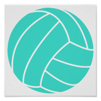 Turquoise; Blue Green Volleyball Poster