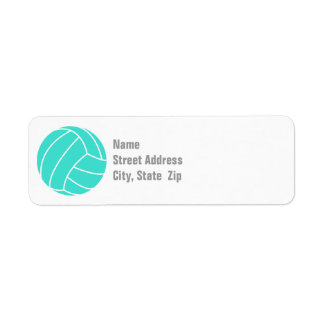 Turquoise; Blue Green Volleyball Return Address Label