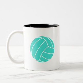 Turquoise; Blue Green Volleyball Two-Tone Coffee Mug