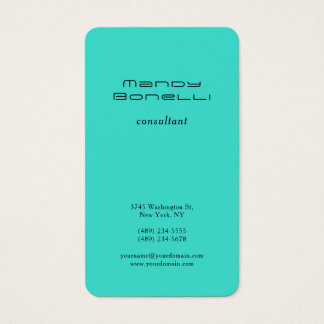 Turquoise Blue GreenTrend Minimalist Professional Business Card