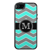 Turquoise Blue, Grey, Black Chevron, Monogrammed OtterBox iPhone 5/5s/SE Case