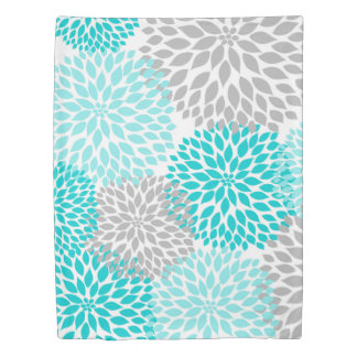 Turquoise Blue Grey Dahlias bedding, blooms Duvet Cover