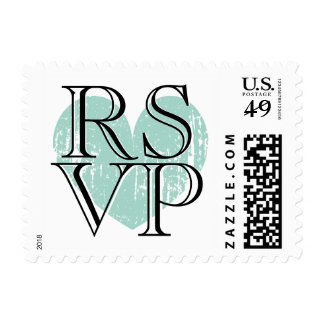 Turquoise blue heart RSVP Stamps for wedding