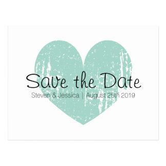 Turquoise blue heart save the date postcards