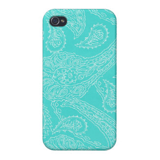 Turquoise blue henna vintage paisley girly floral iPhone 4/4S cover