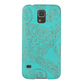 Turquoise blue henna vintage paisley wood floral case for galaxy s5