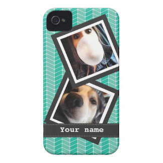 Turquoise Blue Herringbone with Photos and Name iPhone 4 Case-Mate Cases