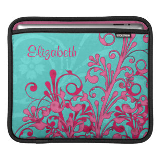 Turquoise Blue Hot Pink Floral Personalized Ipad Sleeves