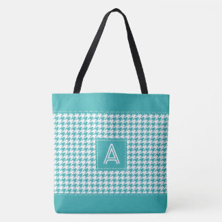 Turquoise Blue Houndstooth Monogrammed Initial Tote Bag