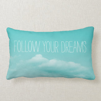 Turquoise blue inspirational lumbar throw pillow