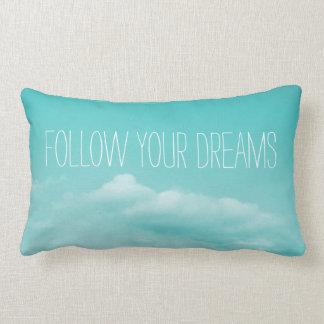 Turquoise blue inspirational lumbar throw pillow