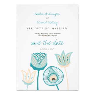 Turquoise Blue & Ivory Funky Flowers Save the Date 5x7 Paper Invitation Card