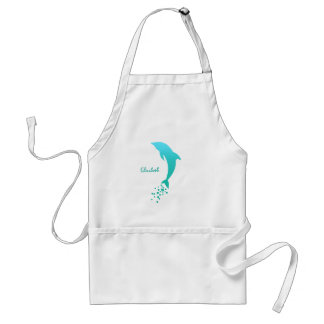 Turquoise Blue Jumping Dolphin With Bubbles Apron