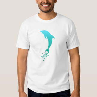 Turquoise Blue Jumping Dolphin With Bubbles Tee