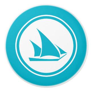 Turquoise Blue Ketch Boat Nautical ceramic knob