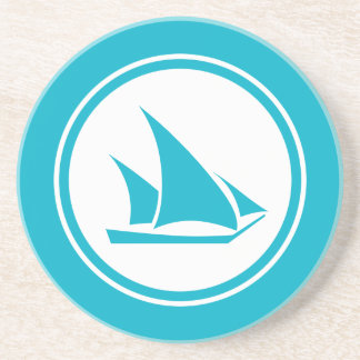 Turquoise Blue Ketch Sailboat Nautical coaster
