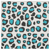 Turquoise Blue Leopard Animal Print Teen Girl Fabric