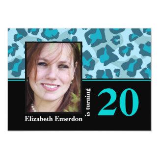 Turquoise blue leopard print 20th birthday photo 5x7 paper invitation card