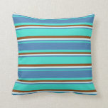[ Thumbnail: Turquoise, Blue, Light Cyan & Brown Colored Lines Throw Pillow ]