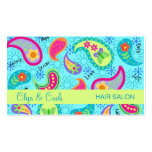 Turquoise Blue Lime Green Modern Paisley Pattern Double-Sided Standard Business Cards (Pack Of 100)