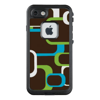 Turquoise Blue Lime Green White Retro Squares LifeProof FRĒ iPhone 7 Case