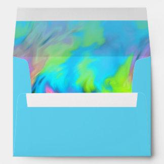 Turquoise Blue Lime Pink Tye Dye Envelope