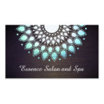 Turquoise Blue Lotus Flower on Wood Wellness Spa Business Card Template