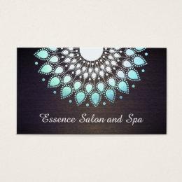Turquoise Blue Lotus Flower on Wood Wellness Spa Business Card